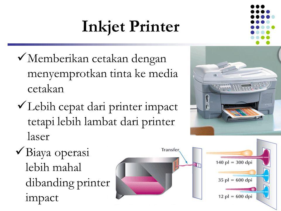 Inkjet Printer  Memberikan cetakan dengan menyemprotkan tinta ke media cetakan  Lebih cepat dari printer impact tetapi lebih lambat dari printer las