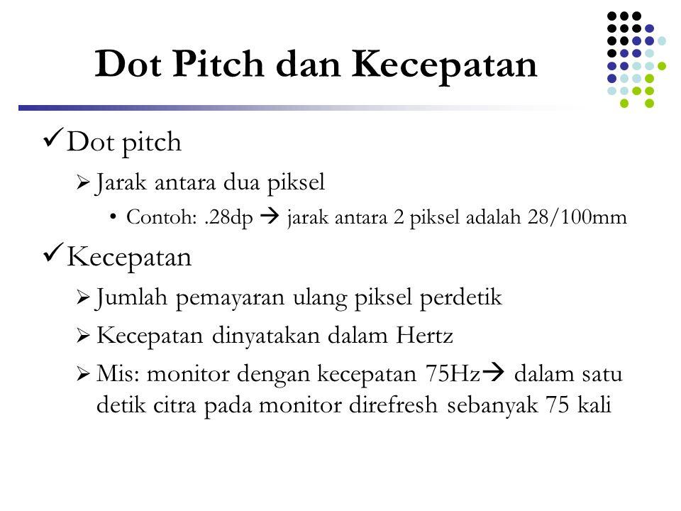 Dot Pitch dan Kecepatan  Dot pitch  Jarak antara dua piksel •Contoh:.28dp  jarak antara 2 piksel adalah 28/100mm  Kecepatan  Jumlah pemayaran ula