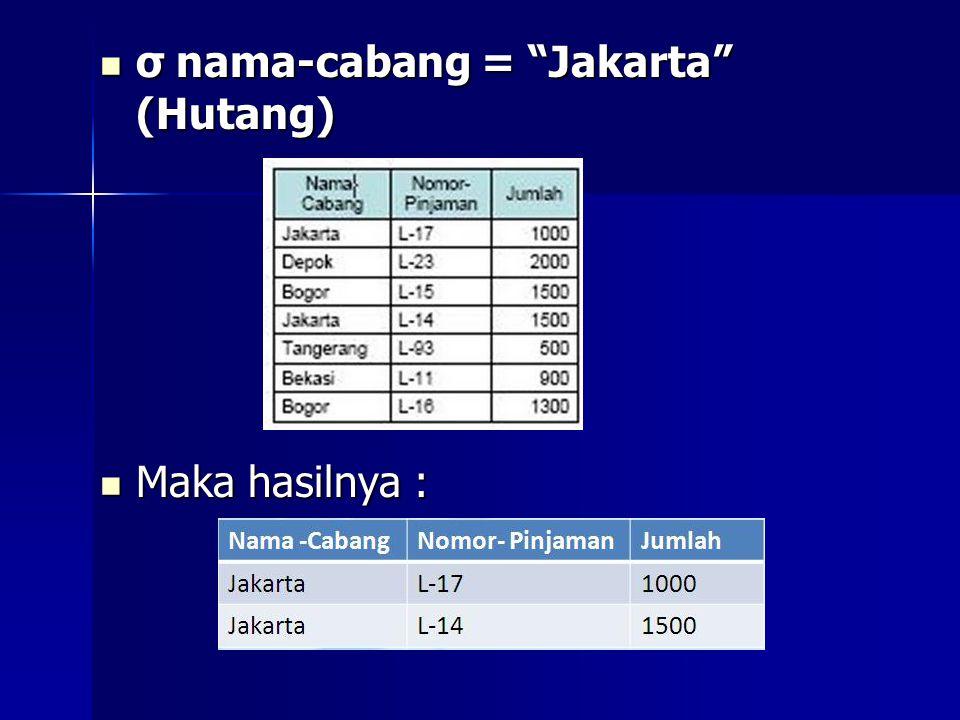 """ σ nama-cabang = """"Jakarta"""" (Hutang)  Maka hasilnya :"""