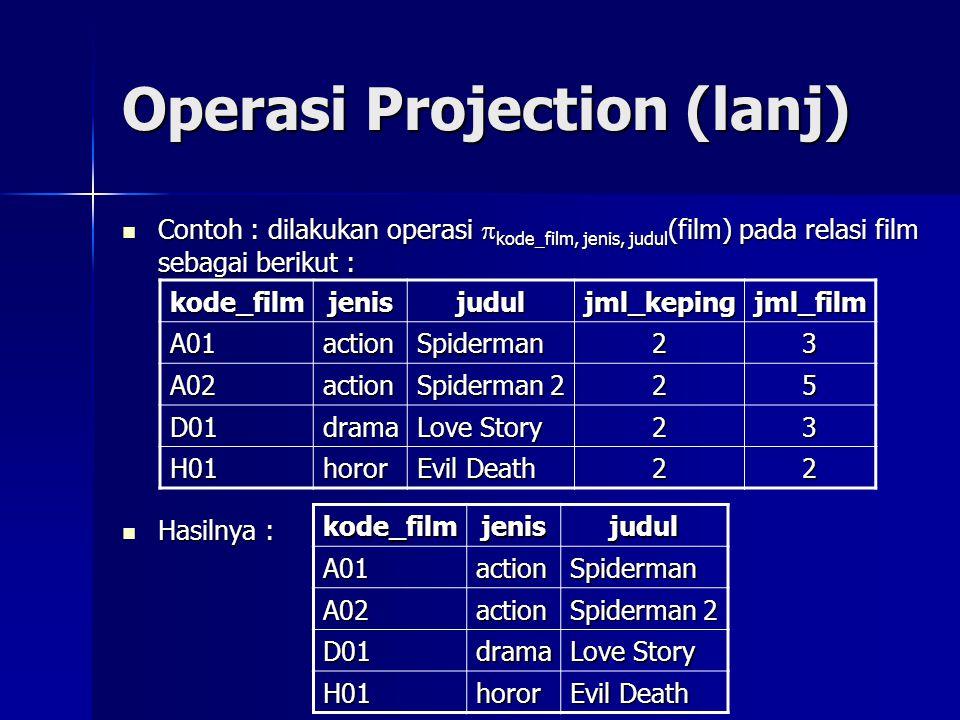 Operasi Projection (lanj)  Contoh : dilakukan operasi  kode_film, jenis, judul (film) pada relasi film sebagai berikut :  Hasilnya : kode_filmjenis