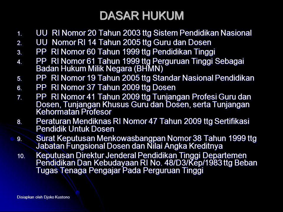 Disiapkan oleh Djoko Kustono DASAR HUKUM 1. UU RI Nomor 20 Tahun 2003 ttg Sistem Pendidikan Nasional 2. UU Nomor RI 14 Tahun 2005 ttg Guru dan Dosen 3
