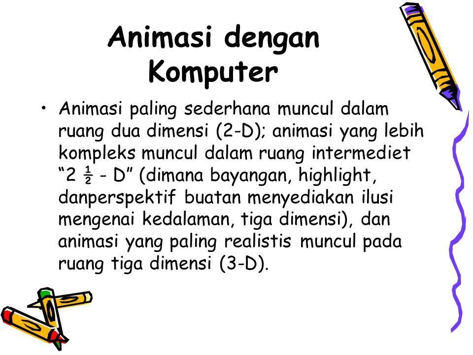 """Animasi dengan Komputer •Animasi paling sederhana muncul dalam ruang dua dimensi (2-D); animasi yang lebih kompleks muncul dalam ruang intermediet """"2"""