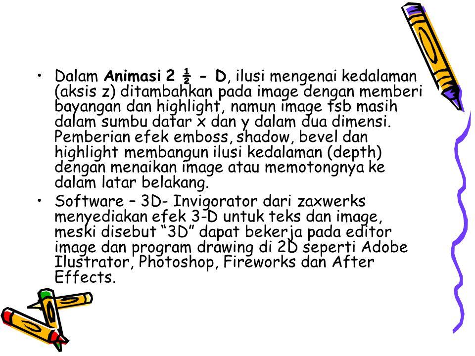 •Dalam Animasi 2 ½ - D, ilusi mengenai kedalaman (aksis z) ditambahkan pada image dengan memberi bayangan dan highlight, namun image tsb masih dalam s