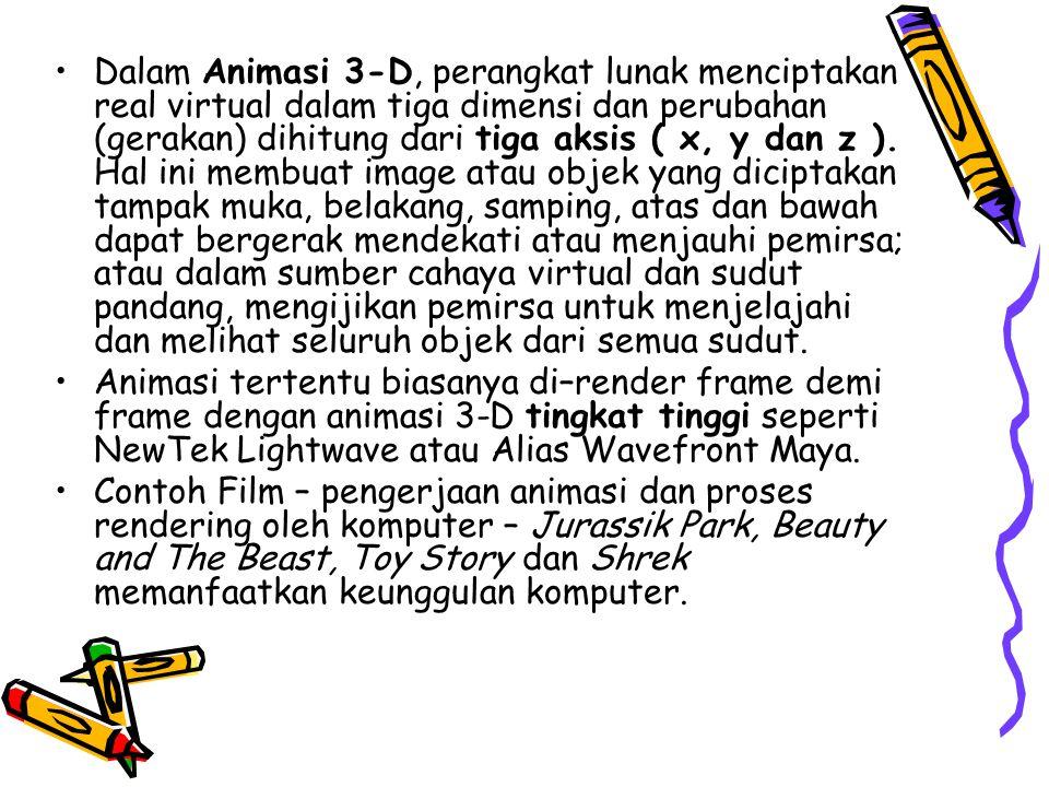 •Dalam Animasi 3-D, perangkat lunak menciptakan real virtual dalam tiga dimensi dan perubahan (gerakan) dihitung dari tiga aksis ( x, y dan z ). Hal i