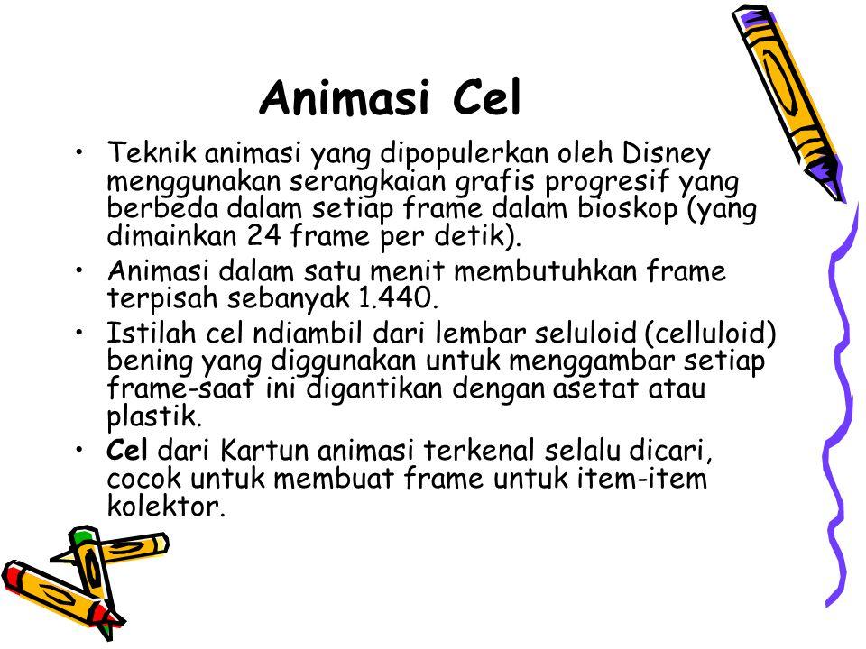 Animasi Cel •Teknik animasi yang dipopulerkan oleh Disney menggunakan serangkaian grafis progresif yang berbeda dalam setiap frame dalam bioskop (yang