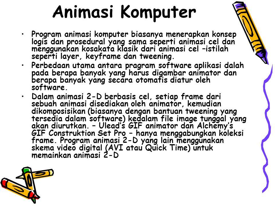 Animasi Komputer •Program animasi komputer biasanya menerapkan konsep logis dan prosedural yang sama seperti animasi cel dan menggunakan kosakata klas