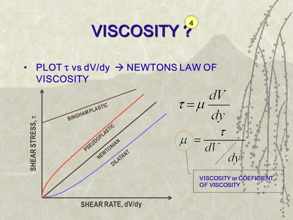 VISCOSITY ? •PLOT   vs dV/dy  NEWTONS LAW OF VISCOSITY DILATANT BINGHAM PLASTIC PSEUDOPLASTIC NEWTONIAN SHEAR STRESS,  SHEAR RATE, dV/dy VISCOSIT