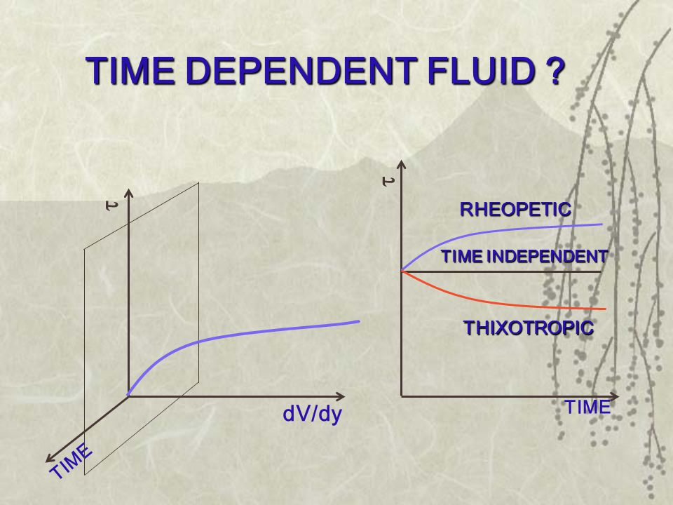 TIME DEPENDENT FLUID ? TIME dV/dy  RHEOPETIC  TIME THIXOTROPIC TIME INDEPENDENT