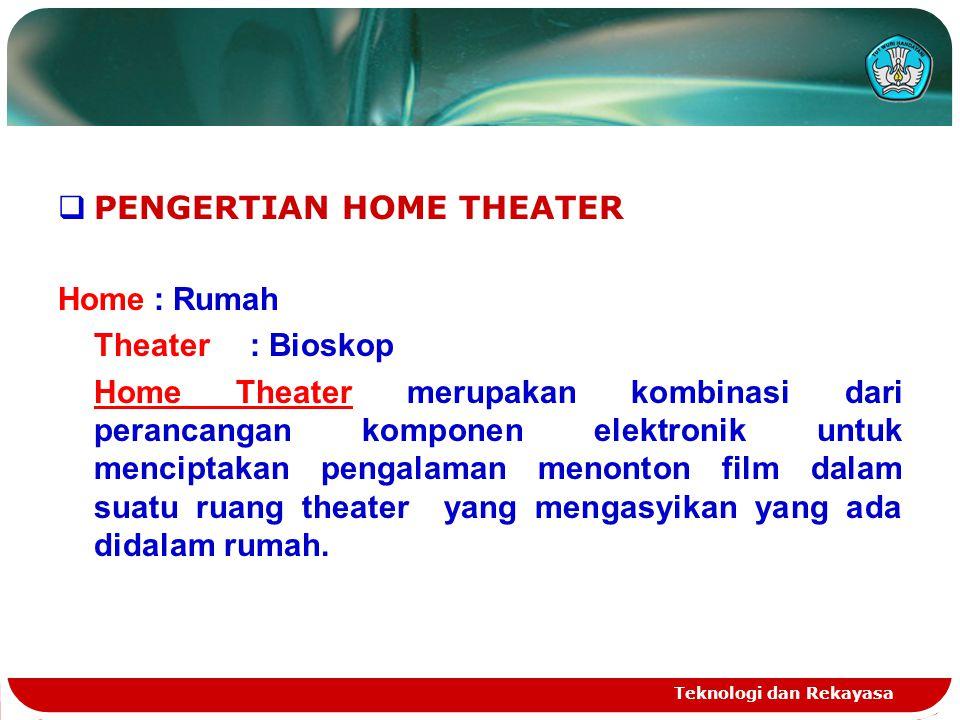 Teknologi dan Rekayasa  PENGERTIAN HOME THEATER Home: Rumah Theater : Bioskop Home Theater merupakan kombinasi dari perancangan komponen elektronik u