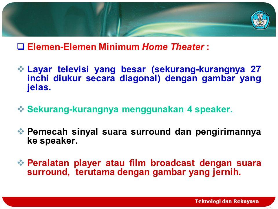 Teknologi dan Rekayasa  Elemen-Elemen Minimum Home Theater :  Layar televisi yang besar (sekurang-kurangnya 27 inchi diukur secara diagonal) dengan