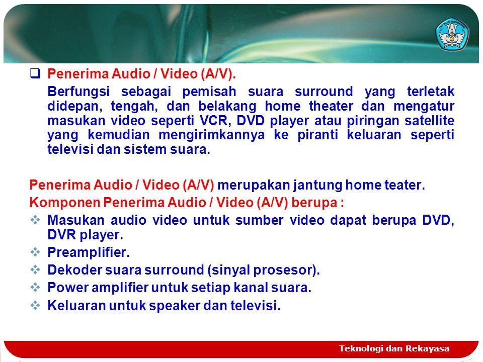 Teknologi dan Rekayasa  Penerima Audio / Video (A/V). Berfungsi sebagai pemisah suara surround yang terletak didepan, tengah, dan belakang home theat