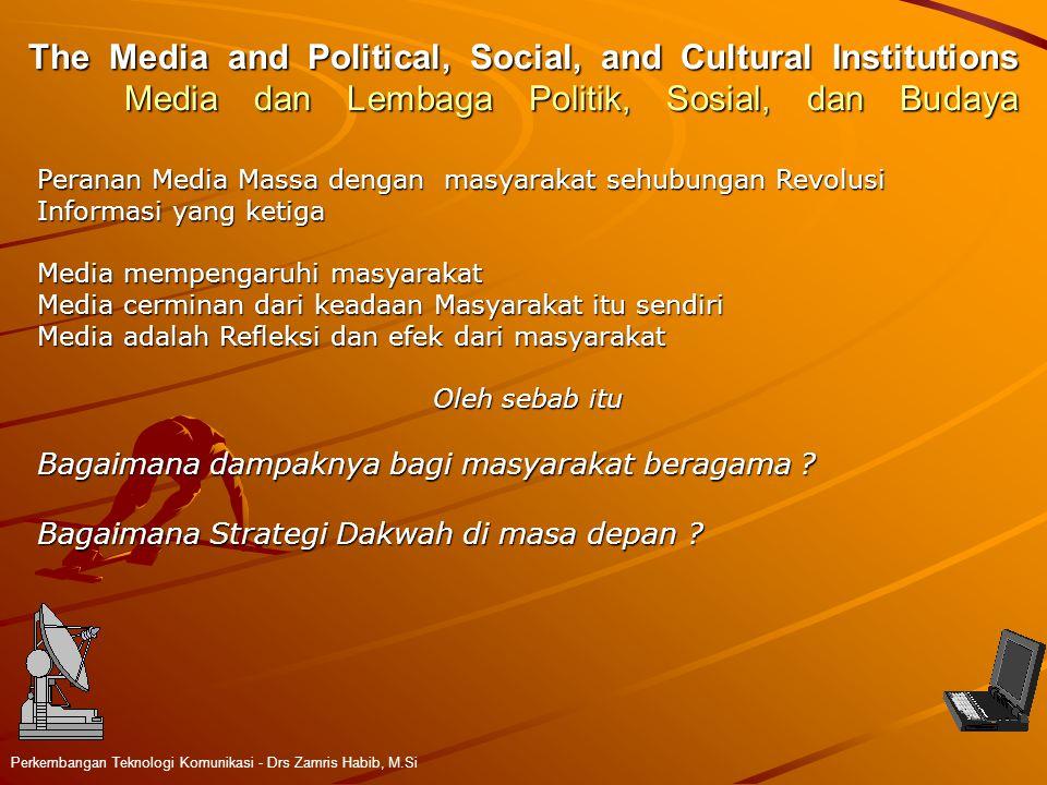The Media and Political, Social, and Cultural Institutions Media dan Lembaga Politik, Sosial, dan Budaya Perkembangan Teknologi Komunikasi - Drs Zamri