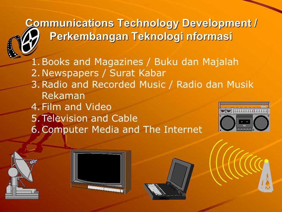 Communications Technology Development / Perkembangan Teknologi nformasi 1.Books and Magazines / Buku dan Majalah 2.Newspapers / Surat Kabar 3.Radio an
