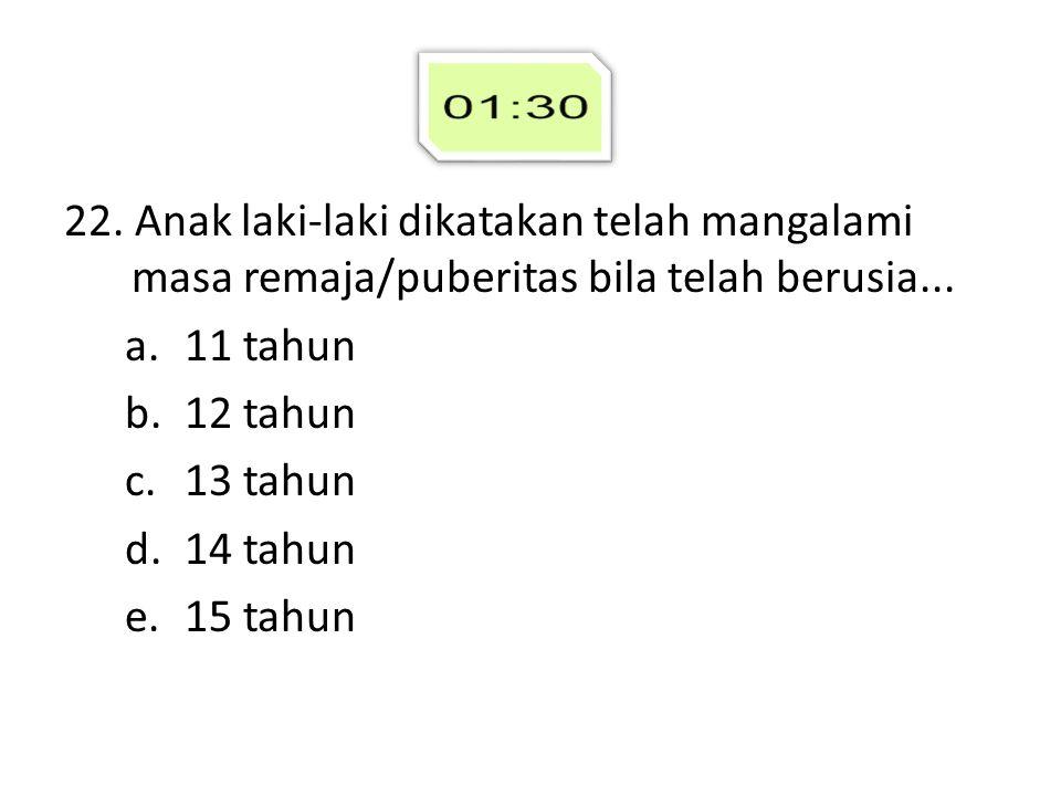 22. Anak laki-laki dikatakan telah mangalami masa remaja/puberitas bila telah berusia... a.11 tahun b.12 tahun c.13 tahun d.14 tahun e.15 tahun