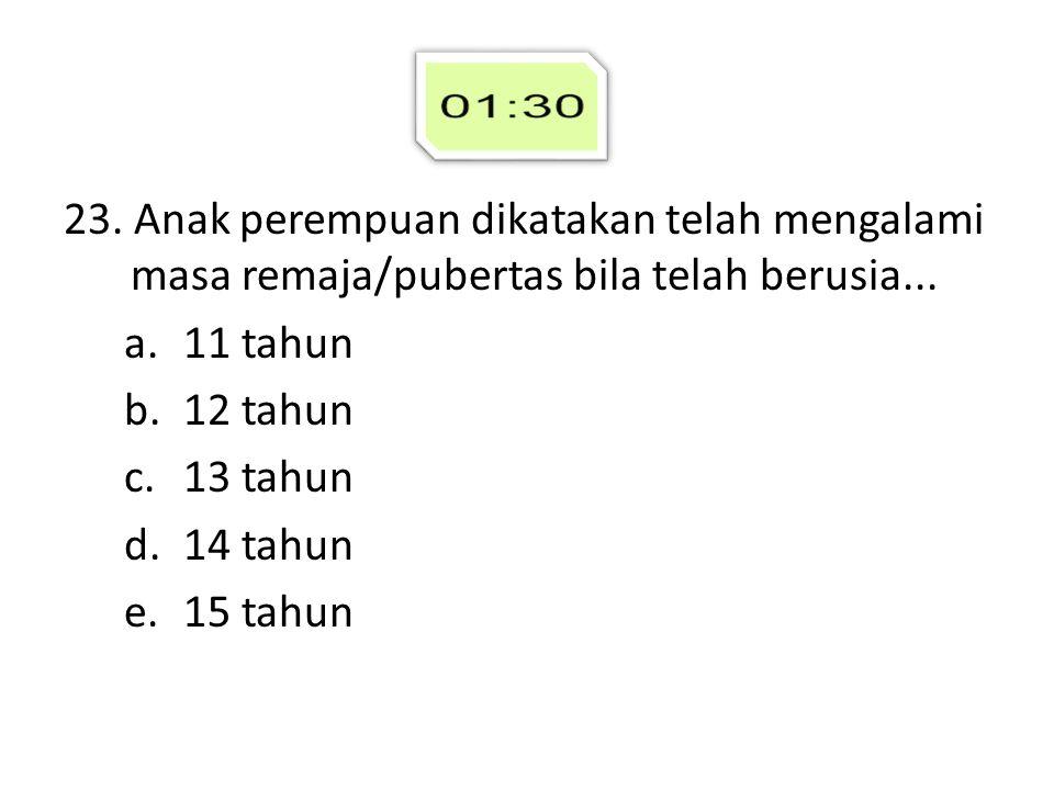 23. Anak perempuan dikatakan telah mengalami masa remaja/pubertas bila telah berusia... a.11 tahun b.12 tahun c.13 tahun d.14 tahun e.15 tahun