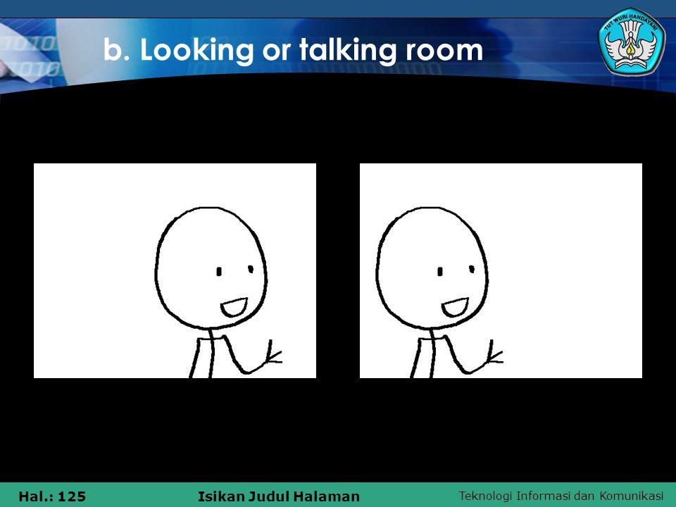 Teknologi Informasi dan Komunikasi Hal.: 125Isikan Judul Halaman b. Looking or talking room
