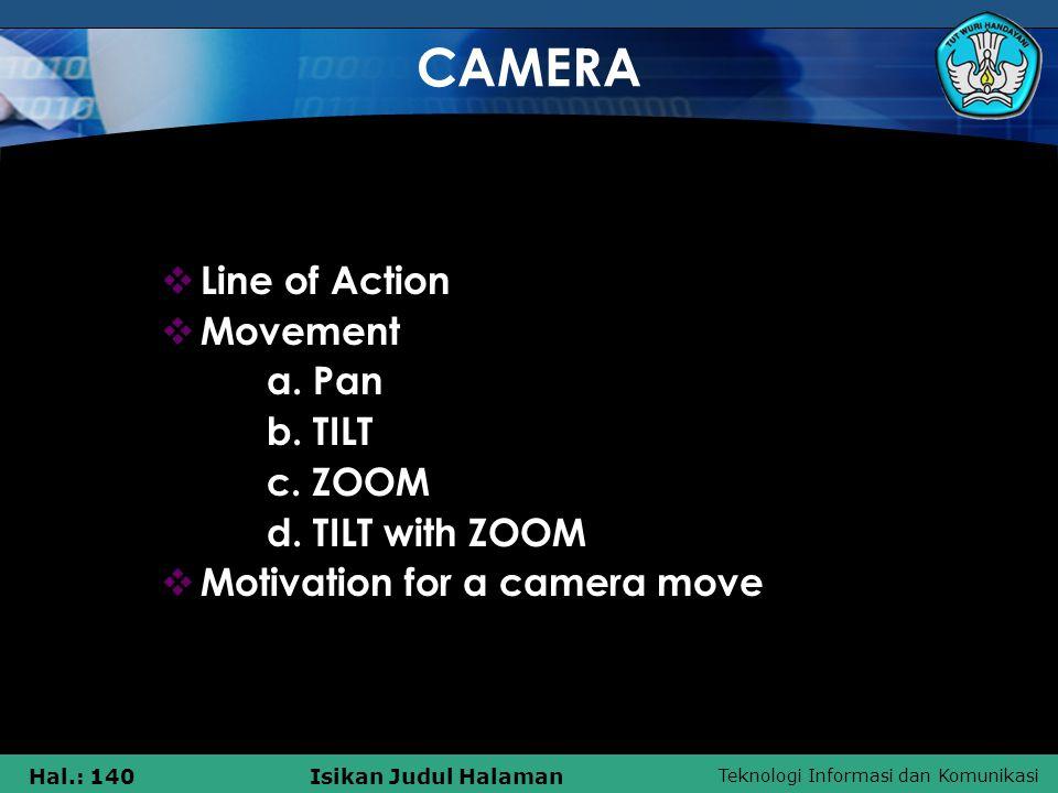 Teknologi Informasi dan Komunikasi Hal.: 140Isikan Judul Halaman CAMERA  Line of Action  Movement a. Pan b. TILT c. ZOOM d. TILT with ZOOM  Motivat