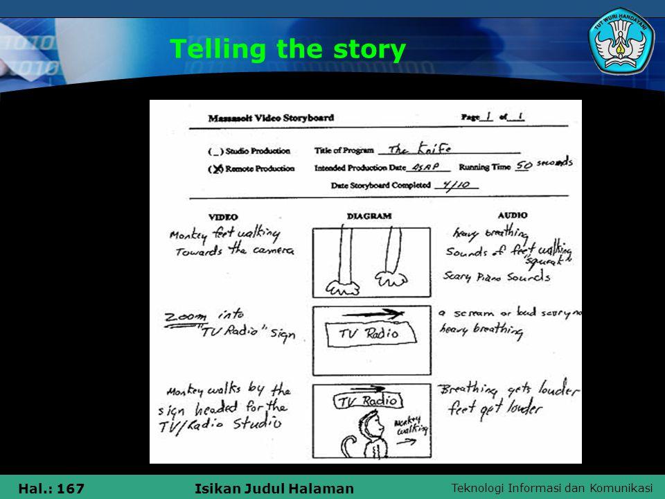 Teknologi Informasi dan Komunikasi Hal.: 167Isikan Judul Halaman Telling the story