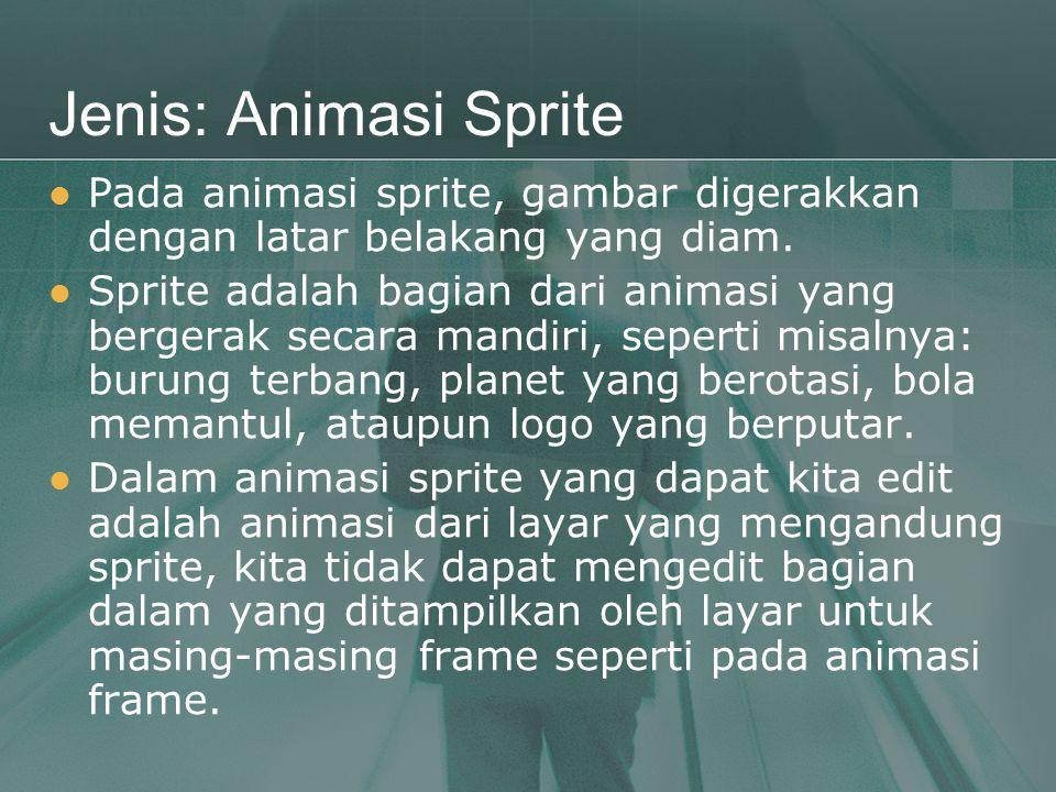 Jenis: Animasi Sprite  Pada animasi sprite, gambar digerakkan dengan latar belakang yang diam.  Sprite adalah bagian dari animasi yang bergerak seca