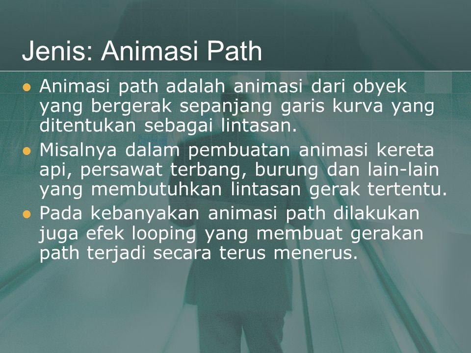 Jenis: Animasi Path  Animasi path adalah animasi dari obyek yang bergerak sepanjang garis kurva yang ditentukan sebagai lintasan.  Misalnya dalam pe