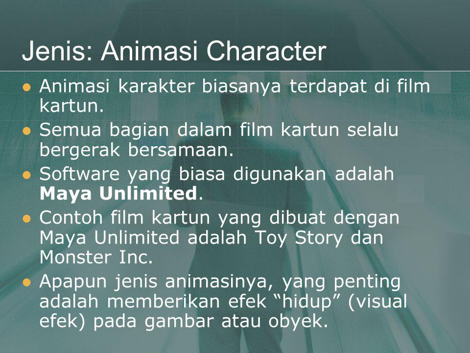 Jenis: Animasi Character  Animasi karakter biasanya terdapat di film kartun.  Semua bagian dalam film kartun selalu bergerak bersamaan.  Software y