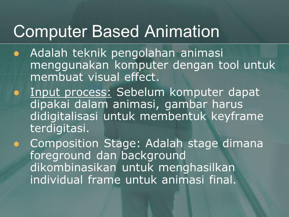 Computer Based Animation  Adalah teknik pengolahan animasi menggunakan komputer dengan tool untuk membuat visual effect.  Input process: Sebelum kom