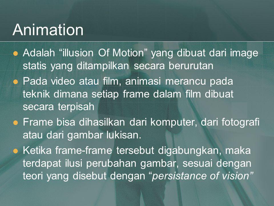 """Animation  Adalah """"illusion Of Motion"""" yang dibuat dari image statis yang ditampilkan secara berurutan  Pada video atau film, animasi merancu pada t"""