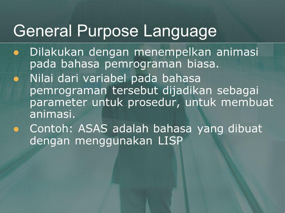 General Purpose Language  Dilakukan dengan menempelkan animasi pada bahasa pemrograman biasa.  Nilai dari variabel pada bahasa pemrograman tersebut