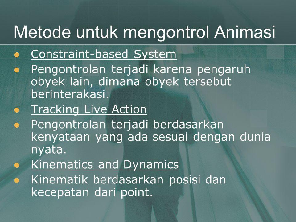 Metode untuk mengontrol Animasi  Constraint-based System  Pengontrolan terjadi karena pengaruh obyek lain, dimana obyek tersebut berinterakasi.  Tr