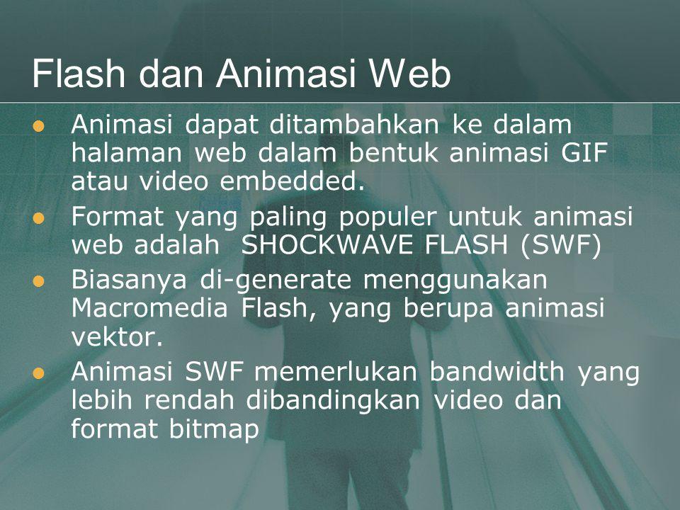 Flash dan Animasi Web  Animasi dapat ditambahkan ke dalam halaman web dalam bentuk animasi GIF atau video embedded.  Format yang paling populer untu