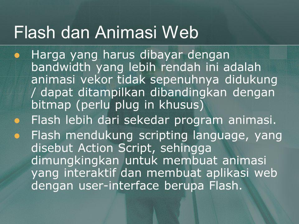 Flash dan Animasi Web  Harga yang harus dibayar dengan bandwidth yang lebih rendah ini adalah animasi vekor tidak sepenuhnya didukung / dapat ditampi