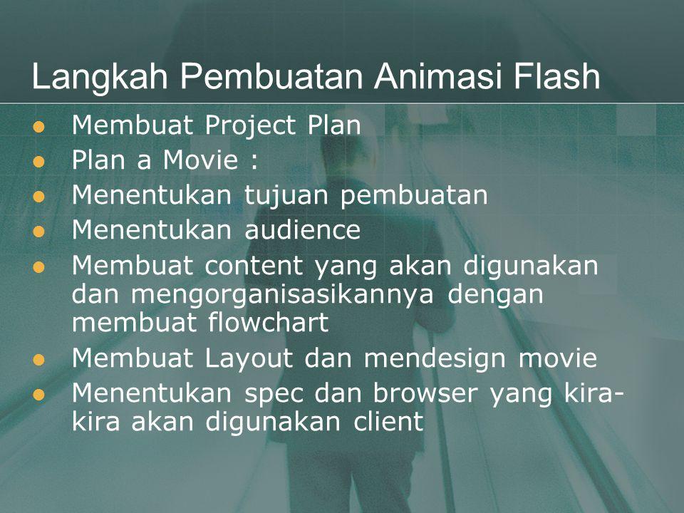Langkah Pembuatan Animasi Flash  Membuat Project Plan  Plan a Movie :  Menentukan tujuan pembuatan  Menentukan audience  Membuat content yang aka