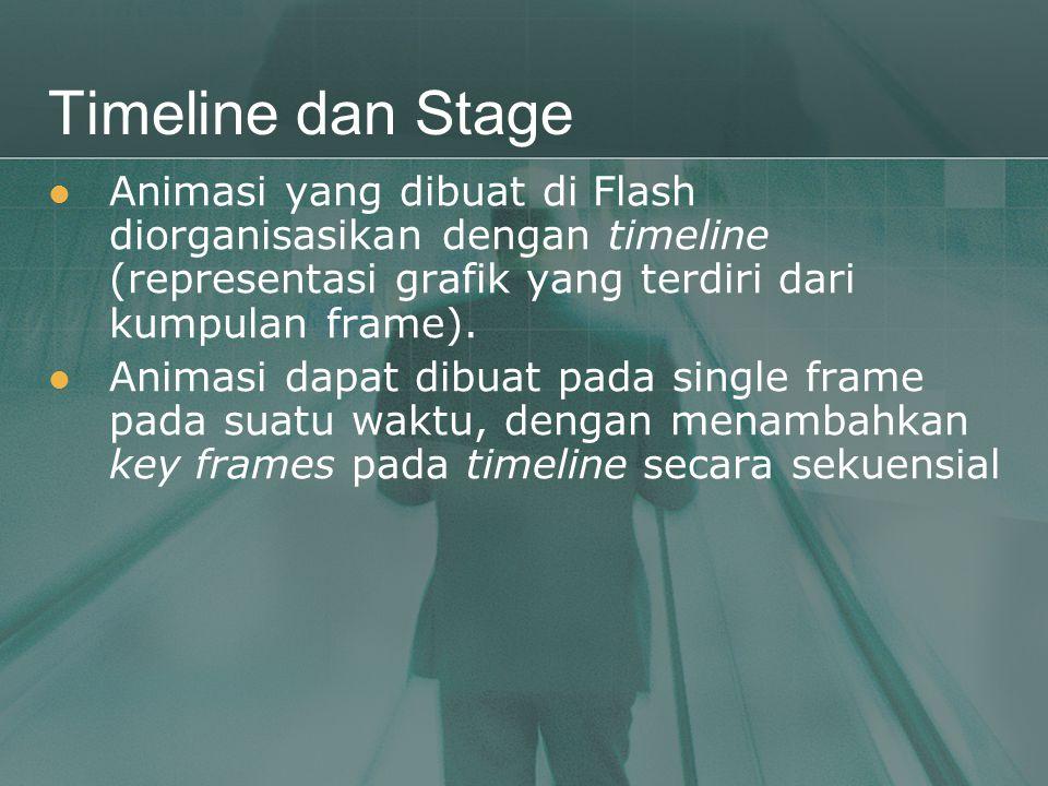 Timeline dan Stage  Animasi yang dibuat di Flash diorganisasikan dengan timeline (representasi grafik yang terdiri dari kumpulan frame).  Animasi da