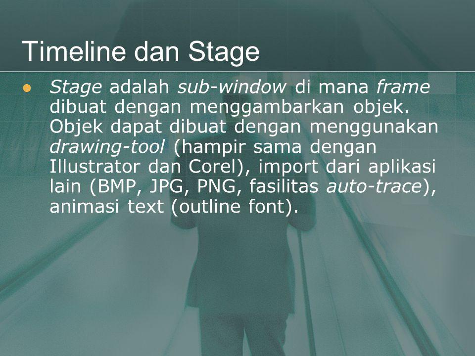 Timeline dan Stage  Stage adalah sub-window di mana frame dibuat dengan menggambarkan objek. Objek dapat dibuat dengan menggunakan drawing-tool (hamp