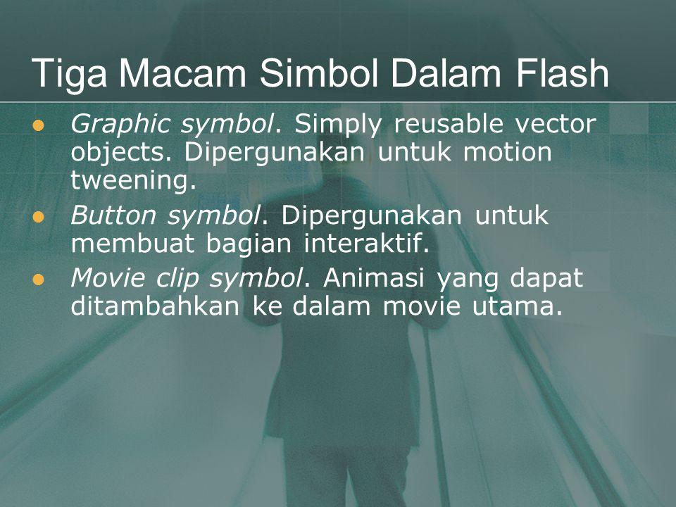 Tiga Macam Simbol Dalam Flash  Graphic symbol. Simply reusable vector objects. Dipergunakan untuk motion tweening.  Button symbol. Dipergunakan untu