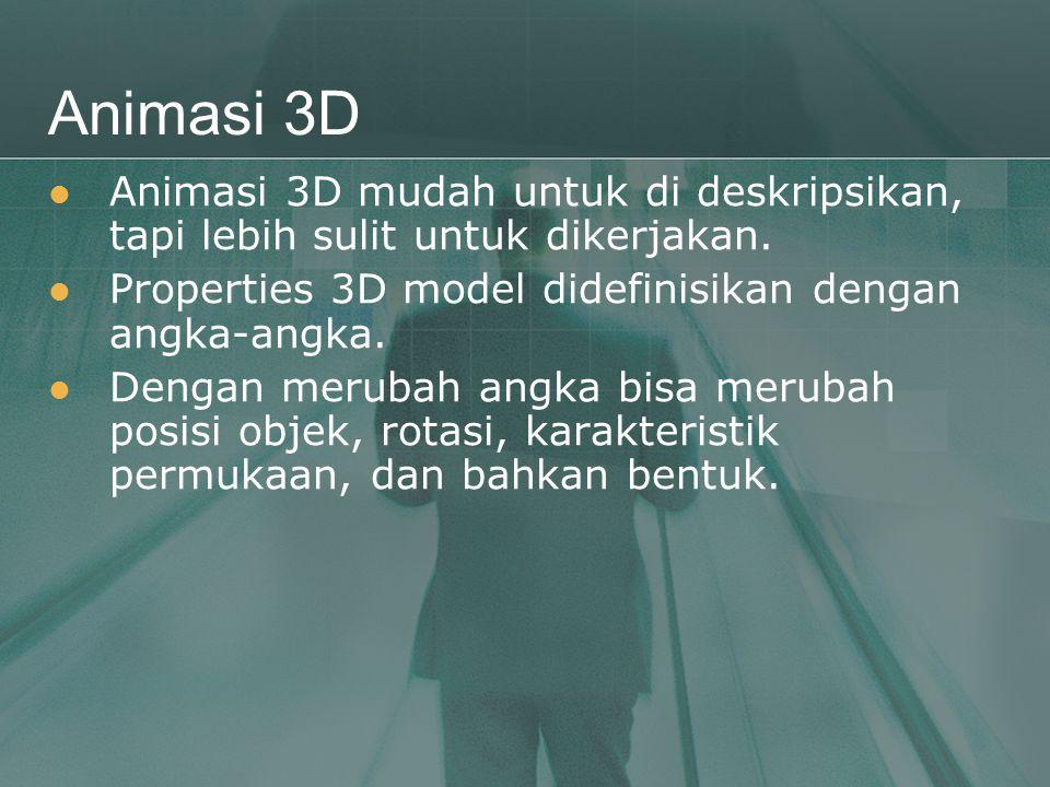 Animasi 3D  Animasi 3D mudah untuk di deskripsikan, tapi lebih sulit untuk dikerjakan.  Properties 3D model didefinisikan dengan angka-angka.  Deng