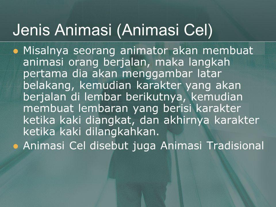Jenis Animasi (Animasi Cel)  Misalnya seorang animator akan membuat animasi orang berjalan, maka langkah pertama dia akan menggambar latar belakang,