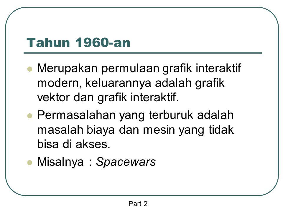 Tahun 1960-an  Merupakan permulaan grafik interaktif modern, keluarannya adalah grafik vektor dan grafik interaktif.