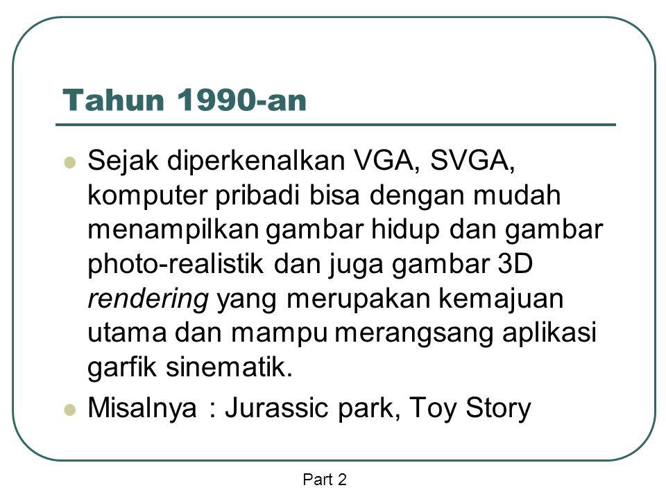 Tahun 1990-an  Sejak diperkenalkan VGA, SVGA, komputer pribadi bisa dengan mudah menampilkan gambar hidup dan gambar photo-realistik dan juga gambar 3D rendering yang merupakan kemajuan utama dan mampu merangsang aplikasi garfik sinematik.