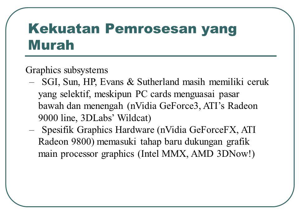 Kekuatan Pemrosesan yang Murah Graphics subsystems – SGI, Sun, HP, Evans & Sutherland masih memiliki ceruk yang selektif, meskipun PC cards menguasai pasar bawah dan menengah (nVidia GeForce3, ATI's Radeon 9000 line, 3DLabs' Wildcat) – Spesifik Graphics Hardware (nVidia GeForceFX, ATI Radeon 9800) memasuki tahap baru dukungan grafik main processor graphics (Intel MMX, AMD 3DNow!)