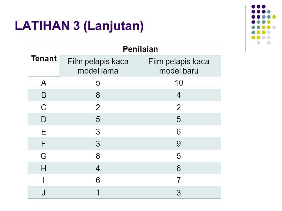 LATIHAN 3 (Lanjutan) Tenant Penilaian Film pelapis kaca model lama Film pelapis kaca model baru A510 B84 C22 D55 E36 F39 G85 H46 I67 J13