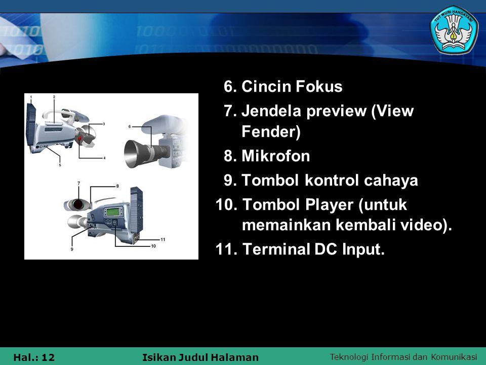 Teknologi Informasi dan Komunikasi Hal.: 12Isikan Judul Halaman 6. Cincin Fokus 7. Jendela preview (View Fender) 8. Mikrofon 9. Tombol kontrol cahaya
