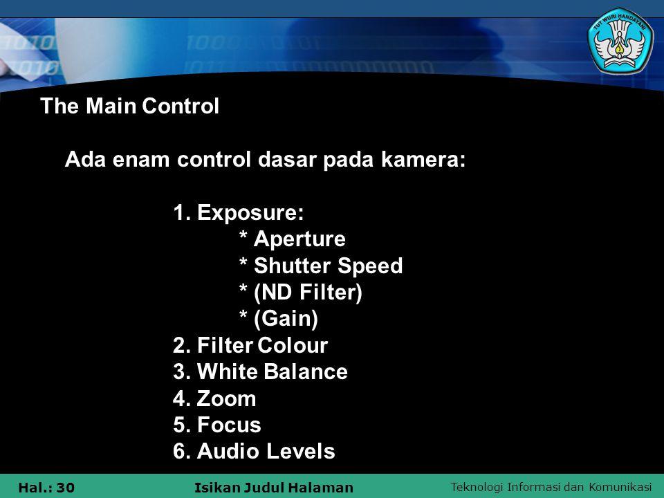 Teknologi Informasi dan Komunikasi Hal.: 30Isikan Judul Halaman The Main Control Ada enam control dasar pada kamera: 1. Exposure: * Aperture * Shutter