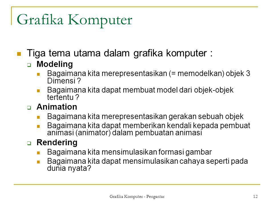 Grafika Komputer - Pengantar 12 Grafika Komputer  Tiga tema utama dalam grafika komputer :  Modeling  Bagaimana kita merepresentasikan (= memodelka
