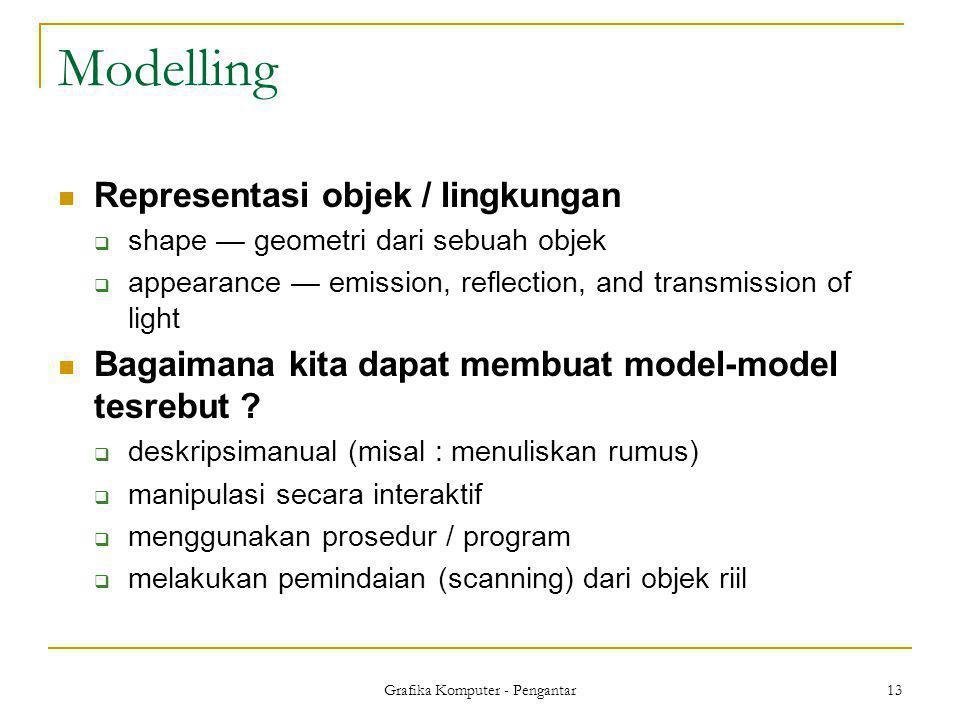 Grafika Komputer - Pengantar 13 Modelling  Representasi objek / lingkungan  shape — geometri dari sebuah objek  appearance — emission, reflection,
