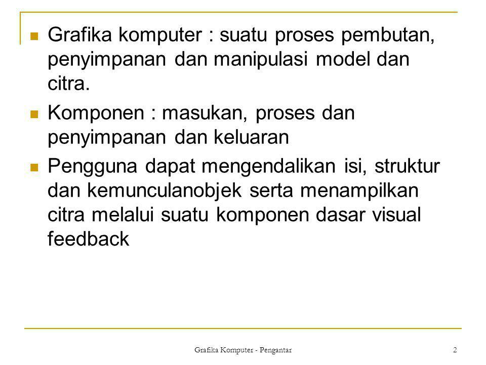 3 Grafika Komputer  Merupakan cabang ilmu komputer yang membahas algorithma untuk menampilkan simulasi (benda).