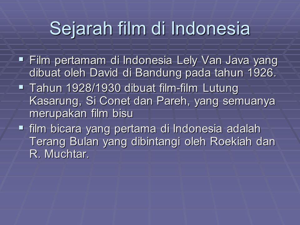Sejarah film di Indonesia  Film pertamam di Indonesia Lely Van Java yang dibuat oleh David di Bandung pada tahun 1926.  Tahun 1928/1930 dibuat film-