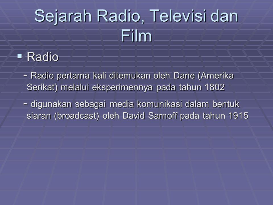 Sejarah Radio, Televisi dan Film  Radio - Radio pertama kali ditemukan oleh Dane (Amerika Serikat) melalui eksperimennya pada tahun 1802 - Radio pert