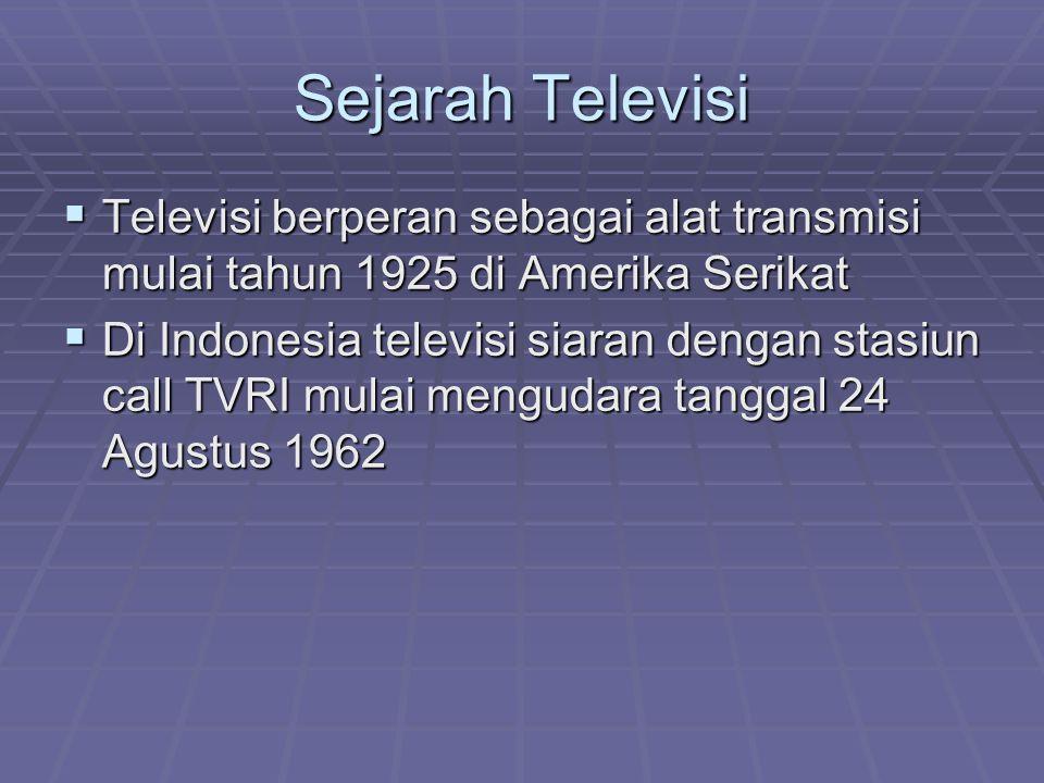 Sejarah Televisi  Televisi berperan sebagai alat transmisi mulai tahun 1925 di Amerika Serikat  Di Indonesia televisi siaran dengan stasiun call TVR