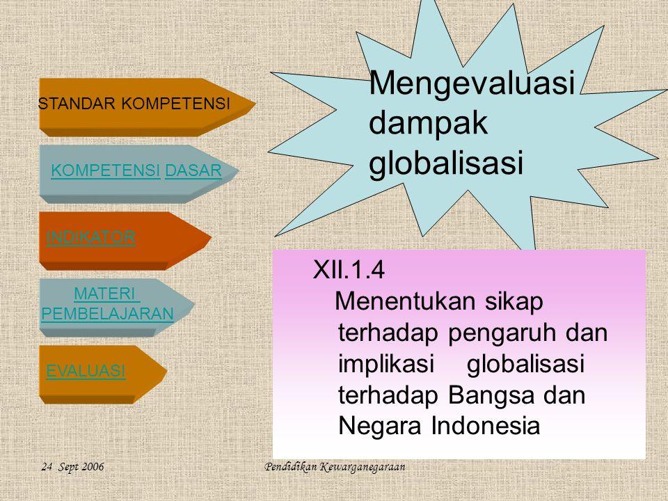 STANDAR KOMPETENSI KOMPETENSI DASARKOMPETENSIDASAR INDIKATOR MATERI PEMBELAJARAN EVALUASI 24 Sept 2006Pendidikan Kewarganegaraan Mengevaluasi dampak globalisasi XII.1.4 Menentukan sikap terhadap pengaruh dan implikasi globalisasi terhadap Bangsa dan Negara Indonesia